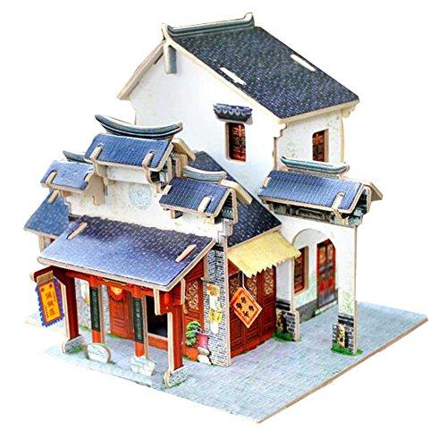 [Chinese Silk Village] 3D Puzzle Papiermodell Zusammengebaute Kabine Haus Spielzeug Diy