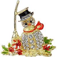 Tinksky Delicati strass pupazzo di neve di cristallo spilla Clip - 1 pezzo - Pupazzo Pin Spilla
