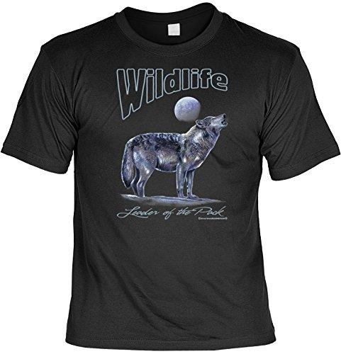 witziges Sprüche T-Shirt Wildlife Leader of the Pack (Größe: XXL) Fb schwarz