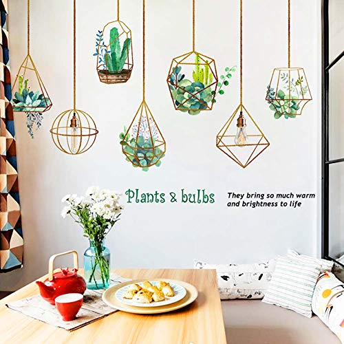 Wall Sticker Autocollant Mural PVC Plante Fleur Art Mural décoration Murale Décalque Autocollant de Chevet pour Chambre Salon Enfant Vert Fond d'écran Ampoules Plante en Pot