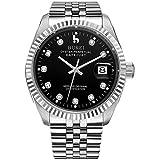 BUREI Luxus Herrenuhr mechanische Automatik Armbanduhr 24 Dial Analog Display Automatikuhr Ziffernblatt und Edelstahl Armband