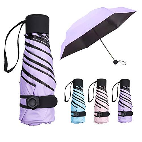NASUM Mini Paraguas Pequeño del Sol Plegable para Mujeres Portátil Longitud 17 Centímetros 6 Costillas Grueso Negro Tela de Goma...