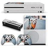 Hunde 077, Niedlich Staffordshire Bullterrier, Design folie Sticker Skin Aufkleber Schutzfolie mit Farbenfrohe Design für Xbox One S Weiß