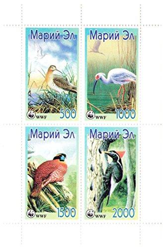 Sonderblock der geschützten Vogelarten - 4 gelochte Briefmarken für Sammler/WWF Logo/Republik Mari El / 1999 / MNH perfekter Qualität