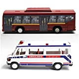 Playking Centy Combo Of Low Floor Bus & Ambulance - Pull Back Action, Color May Vary