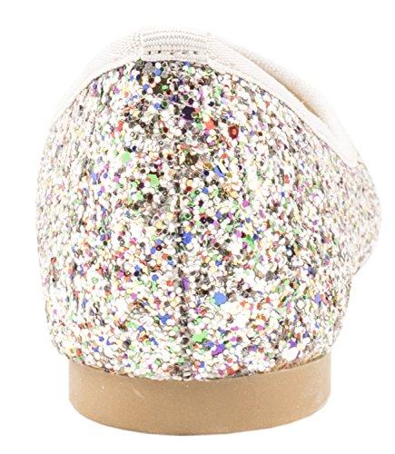 Elara Damen Ballerina | Hochwertige Glitzer Slipper | Flats Slip-Ons Bunt Pailletten