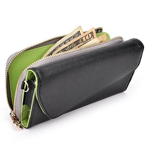 Kroo d'embrayage portefeuille avec dragonne et sangle bandoulière pour Yezz ANDY 6Q/5.5ei Magenta and Yellow Noir/gris