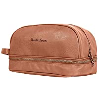 Faux Leather Travel Ditty Bag - Imitation Leather PU Hygiene Organizer Dopp Kit Leather Toiletry Bag For Men Women(Cognac)