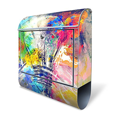 BANJADO Design Briefkasten mit Zeitungsfach, 2 Schlüssel, A4 Einwurf, silber pulverbeschichtet, mit Motiv Idee