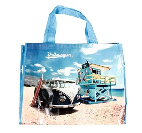 Bubble-Store VW T1 Bus Shopper Tasche mit Schultergurt, Tragkraft max. 30 kg, Größe ca. 48 x 38 cm, VW-Kollektion, Retro-Design (Beach Life)