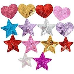 Millya DIY brodée Sew iron on patches Paillettes étoile en forme de cœur Patch badge Craft patchs à Tissus pour vêtements Chapeau Sac de chaussures, Lot de 14, multicolore, Taille unique