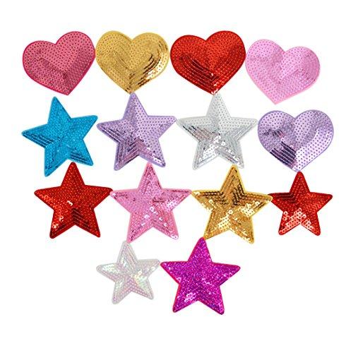Milya 14 in 1 Aufnäher Bügelbild Aufbügler Bügeleisen auf Patches Applikation für T-Shirt Jeans Kleidung Taschen, Bunte Pailletten fünfeckiger Stern Muster Herz-Förmig