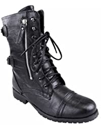 5b2cd5de4dd WOMENS LADIES ARMY COMBAT LACE UP ZIP GRUNGE MILITARY BIKER TRENCH PUNK  GOTH ANKLE BOOTS SHOES