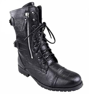 femmes arm e fermeture clair lacet grunge motard militaire fashion gothique punk cheville. Black Bedroom Furniture Sets. Home Design Ideas