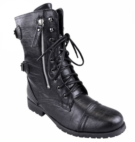 Fashion Thirsty Heelberry® Womens Ladies Combat Army Military Worker Lace Up Flat Biker Zip Ankle Boots