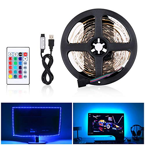 LED Striscia RGB 4M LED TV Retroilluminazione Striscia 120LED 5V SMD 5050, USB Bias TV LED posteriore di illuminazione Kit Con IR Telecomando per HDTV e PC Monitor [Classe di efficienza energetica A+]