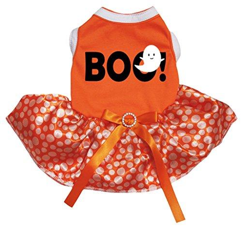 eidung Hund Kleid Boo Ghost orange Top Polka Dots Tutu (Hund Kostüme-halloween-geist)