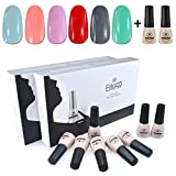 UV Nagellack set von Elite99 soak off nagelgel farben auflösbarer peel off nagellack uv nagellack starterset 6x 7ML+Base Top Coat Set 2x 7ML