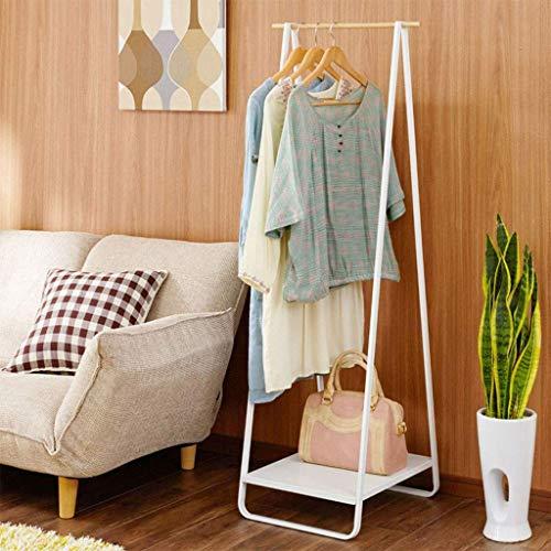 Mantel Regal Eisen Holz Hänger Boden Hänger Schlafzimmer einfache Kleidung hängen,White