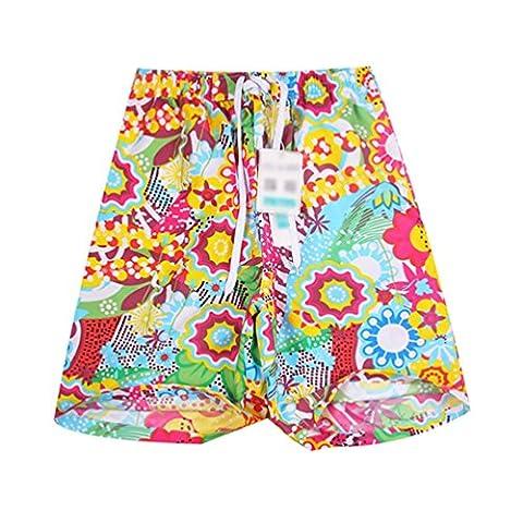 MissFox Hommes Beach Bermuda Short Fleur Imprimé Shorts de Bain Pantalon Court (Floral, L)