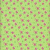 100% Baumwolle Stoff | Grün und pink | Blumenbeet