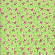 Tela verde y rosa 'jardín de flores' (Colección 'un jardín rústico' - rosa y menta) - 100% algodón suave | ancho: 140cm (1 metro)