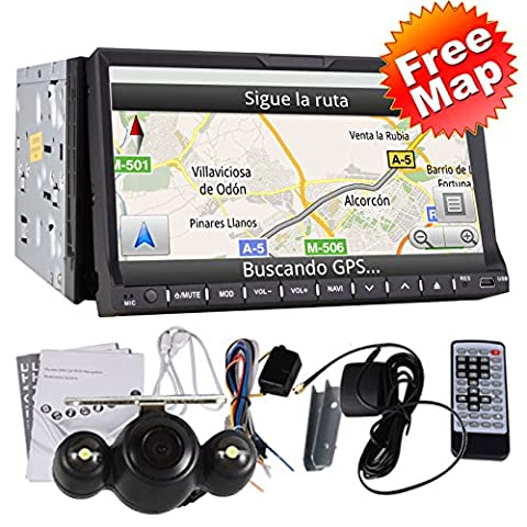 High Def 7 Inch In Dash 2 Din Car Stereo DVD Player GPS Navigation 3D Bluetooth Double 2 Din 7
