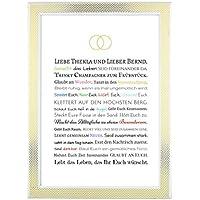 Hochzeitsgeschenk für Brautpaar - Bild in DIN A4: Gastgeschenk für Trauzeuge / Trauzeugin oder persönliche Beigabe zum Geldgeschenk - optional mit Bilderrahmen - Geschenk zur Hochzeit