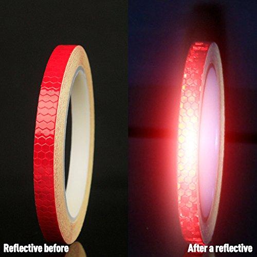 YiWa 8metros reflectantes adhesivo cinta impermeable luminoso fluorescente colores pegatina de espejo para bicicleta motocicleta coche decorativos, 1rollo, rojo, 8 m