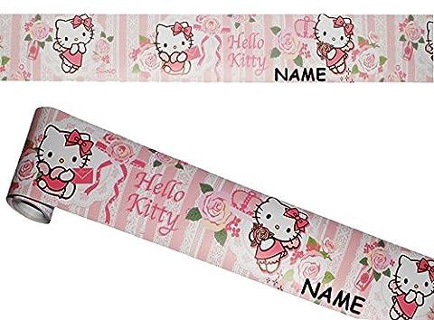 """Wandbordüre - selbstklebend - """" Hello Kitty - Blumen """" - 5 m - incl. Name - Wandsticker / Wandtattoo - Bordüre Aufkleber Kinderzimmer - für Kinder Mädchen / Baby Borte - Wandborte - Borten - Tapetenbordüre / selbstklebende - Wandbordüren - Bordüren"""