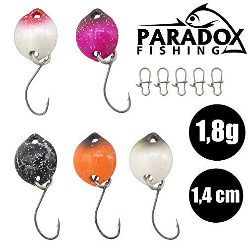 Paradox Fishing Forellen Spoon Set 5 Spoons (1,4 cm ; 1,8g) mit Box und 5 Snaps UV Forellenköder Set zum Forellen Angeln Forellen Blinker - Spoons Forelle