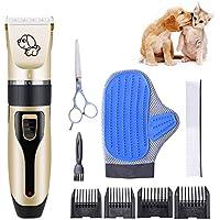 RIRGI Cortapelos Perros Profesional, Cortapelos Mascotas Electrico Inalámbrico, Bajo Ruido y Vibración, con Guante Pelo Mascotas