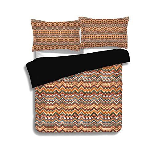 LIS HOME Schwarzer Bettbezug-Set, indianisches Dekor, ethnisches buntes Chevron-Zickzack-Maya-Muster, dekoratives 3-teiliges Bettwäscheset mit 2 Kissenbezügen, Twin-Größe (Twin Bettwäsche Für Mädchen Chevron)