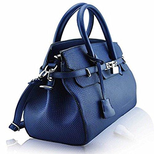 TrendStar Damen Entwerfer Imitat Leder Ebene Vorhängeschloss Für Leinentrage Schultern Taschen Handtaschen Marine