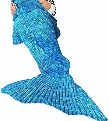 Cola de sirena manta con ganchillo hecho a mano mantas de punto, regalo perfecto de Navidad para adultos, Super suave todo el año dormir mantas 180cmX90cm y # xFF08; 71