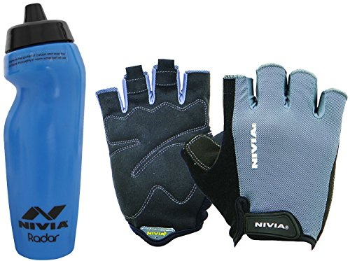 Nivia Extreme Radar Python Gym & Fitness Combo, Large - Royal Blue (1 Pair Nivia Python Gym Gloves Black/Grey, Large + 1 Nivia Radar 600ml Sports Bottle, Royal Blue)  available at amazon for Rs.999
