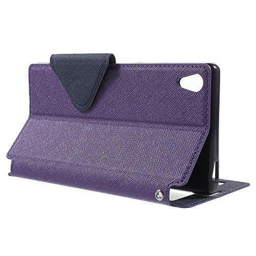 | Handyschutz in Perfektion | Ultra Slim Premium Flip Cover Leder Tasche Schutz Hülle mit Silikon Innen Schale Original Roar Fancy Case Für Sony Xperia Z5 Compact Lila Lila