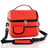 ZOORON Multifunctional Durable Double Thick Ice Pack 600D Oxford Waterproof Insulated 8L Large Reusable Cooler Fresh Lunch Bags Frozen or Warm Keeping Handbag Tote for Outdoor Work,Travel,Picnic ,Camping,Hiking (Red)