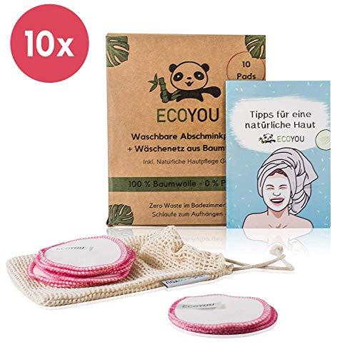 Image of EcoYou Abschminkpads Waschbar aus BIO-Baumwolle 10 St. PINK ♻ Zero Waste Wattepads + WÄSCHENETZ aus Baumwolle ♻ Make Up Entferner Pads + Hautpflege GUIDE ♻ Wiederverwendbare Pads