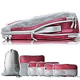 TRAVEL DUDE Packwürfel Set mit Kompression | Packing Cubes | Packtaschen Set & Gepäck Organizer für Rucksack & Koffer | Extra leichte Kleidertaschen | Weinrot, 7-teilig