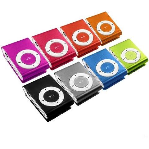 Mini lettore MP3 con clip e auricolari, in alluminio, colore: Rosa