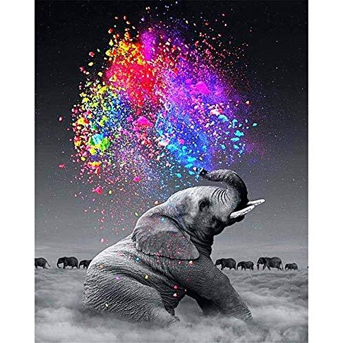 zhxx Malen Nach Zahlen Erwachsene Wolkenelefant Zigaretten Tier Digital Modern Wall Art Painting Geschenk Leinwand AcrylFür Anfänger Ohne Frame 40X50Cm