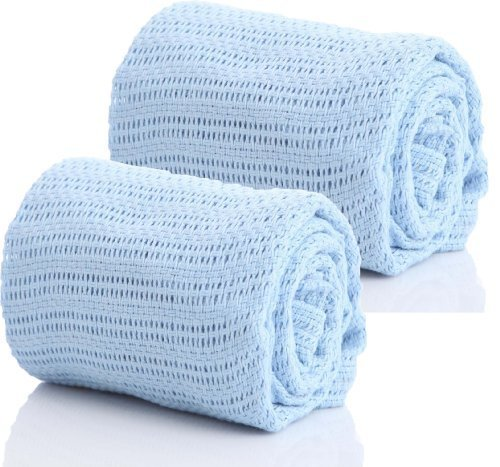 Pair of 100% Pure Cotton Cellular Baby Blanket for Pram Cot Bed Moses Basket Crib in Blue Pink or White (2 x Blue) (Home-computer In Den Verkauf)