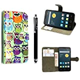 für Alcatel One touch Pop Star 5022D, Kamal Star® Kunstleder Tasche PU Schutzhülle Tasche Leder Brieftasche Hülle Case Cover + Gratis Universal Eingabestift (Design 01 Multi Owl Book)