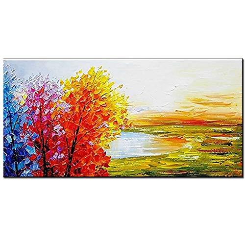 MINOIL Handgemalte Farbe Baum Abstrakte Landschaft Leinwand Ölgemälde Dickes Öl Wandbild Wohnzimmer Schlafzimmer Home Wall Decor-90x150cm(36x60inch)