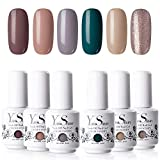 Vernis Gel Semi Permanent - Y&S UV LED Vernis à Ongles Gel Soak Off Manucure Kit 6 Couleurs X 8ml, Lot Horizon