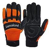 Lumaland Mechanikerhandschuhe robuste Arbeitshandschuhe verschiedene Farben Orange L