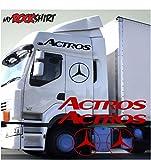 2er Set Actros Schriftzug mit Mercedessternen 60cm + Logo 40cm 2Stück LKW Truck Trucker Aufkleber Anhänger Sticker `+ Bonus Testaufkleber