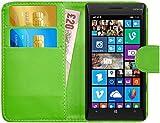 G-Shield Hülle für Nokia Lumia 930 Klapphülle mit Kartenfach und Magnetverschluß Kunstleder mit Displayschutzfolie und Stylus - Grün