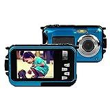 PowerLead Dobles Pantallas Cámara Resistente LCD Los Niños Cámara Resistente al agua de 2.7inch (Azul) (Azul)
